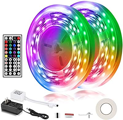 Led Strip Lights, 32.8FT RGB Flexible LED Lights Color Changing 5050 LED Light Strip for Bedroom Room Decoration with Remote Control Connectors Accessories, Non-Waterproof