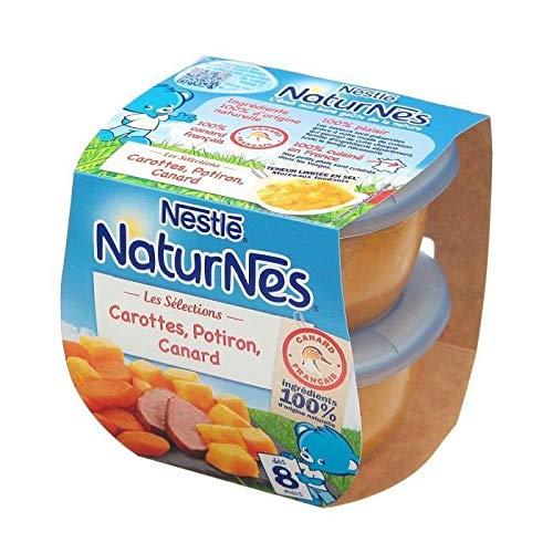 NESTLE Lot 2 Plats Cuisinés - Carottes. Potiron et Canard Naturnes Des 8 mois 2 x 200 gr