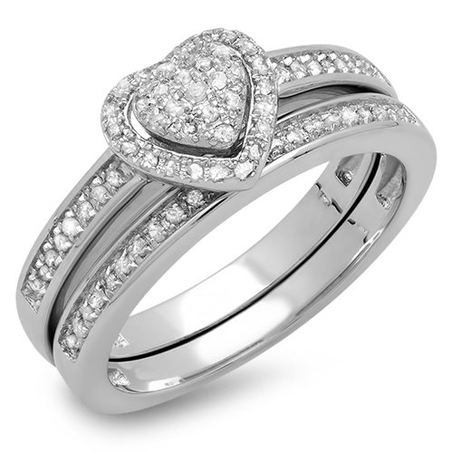 Dazzlingrock Collection 0.23 Carat (ctw) Sterling Silver White Diamond Ladies Engagement Ring Set 1/4 CT, Size 6 Diamond Ladies Bridal Set