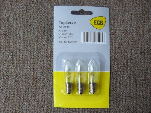 3 Stück EGB Topkerze Lichterkette 8V, 3W, Fassung E10