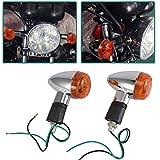 INNOGLOW Motorcycle Turn Signal Lights Chrome Bullet Front Rear Blinker Indicator Light for Harley Honda Kawasaki Suzuki Yamaha Motorcycle Street Standard Custom Bike Cruiser Bobber Chopper (2 PCS)