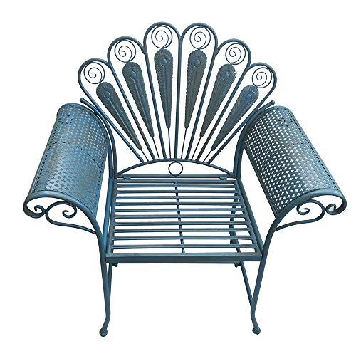 Panca da giardino per esterni, sedia in metallo, mobili da giardino, decorazione per terrazza, salotto da balcone, panca con schienale in vecchio artigianato, Panchina portico in ghisa