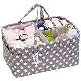 Hinwo Baby Windel Caddy 3-Compartment Infant Nursery Tote Aufbewahrungsbehälter Tragbare Organizer Neugeborenen Dusche Geschenkkorb mit abnehmbarem Teiler 10 unsichtbaren Taschen für Windeln