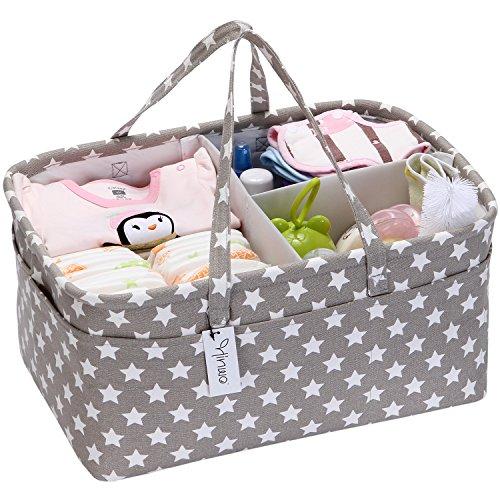 Hinwo - Cesta para pañales de bebé, 3 compartimentos, organizador portátil para el coche, cesta de regalo para recién nacidos, con divisor desmontable y 10 bolsillos invisibles pañales y toallitas