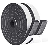 Foam Insulation Tape 2 Rolls 1 Inch Wide X 3/8 Inch Thick, High Density Foam with Adhesive Tape Self Stick Weather Stripping Thick, Total 13 Feet Long (2 X 6.5 Ft Each)