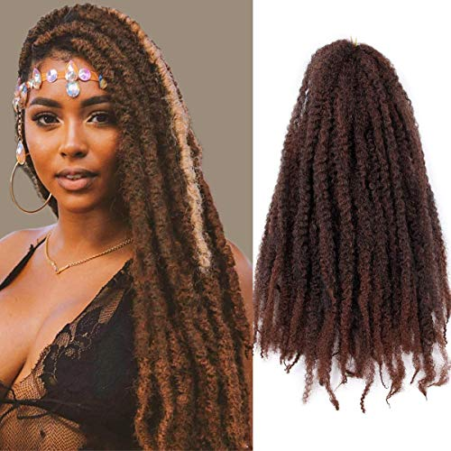 3Pcs/Lot Marley Braiding Hair Afro Marley Hair Crochet Braids 18Inch Kanekalon African Soft Kinkys Twist Braiding Hair for Black Women(T1B/30#)