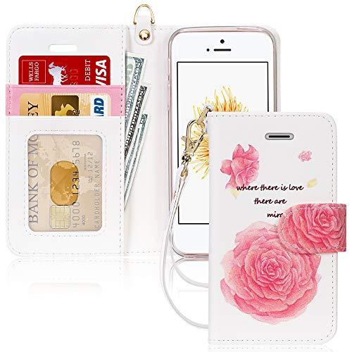 FYY Schutzhülle iPhone 5SE Schutzhülle, [Serien High-End] Ledertasche von Erste Qualität mit Coverture Allmächtige für iPhone 5SE E-Fashion 4 SE/5S/5
