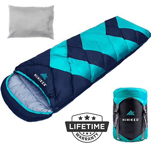 HiHiker Camping Sleeping Bag + Travel Pillow w/Compact Compression Sack – 4 Season Sleeping Bag for Adults & Kids – Lightweight Warm and Washable, for Hiking Traveling. (Turquoise Bold)
