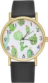 Godagoda Women Men Cactus Watch Unisex Quartz Watch Silicone Strap Cactus Pattern Dial