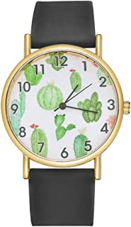 Godagoda Women Men Cactus Watch Unisex Quartz Watch Silicone Strap Cactus Pattern Dial