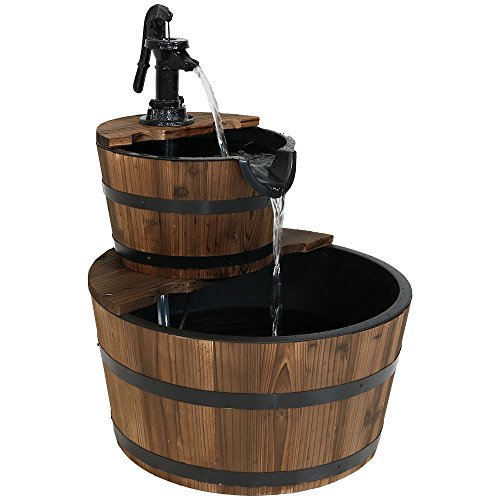Sunnydaze Country Wood Barrel Water Fountain – 2-Tier Waterfall Fountain & Backyard Water Feature with Hand Pump – 23 Inch Tall
