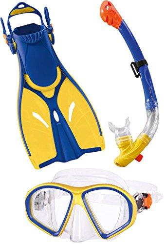 Golden Lutz CRIVIT® Profi-Tauch- und Schnorchelset, Kinder (gelb blau, Gr. M - 32-37)