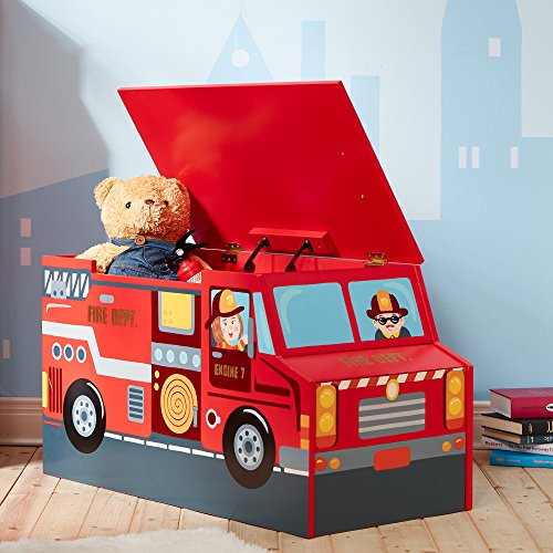 Fantasy Fields - Little Fire Fighters themed Kids Wooden Toy Chest with Safety Hinges Hand Painted Details Lead Free Paint
