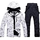 Fashion Women's High Waterproof Windproof Snowboard Colorful Printed Ski Jacket and Pants (Style 1, M)