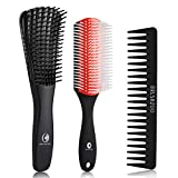 O BRUSHZOO Detangling Brush for Curly Hair, Detangler Brush for Natural 3/4abc Hair, Hair Brushes for Women Men or Kids Curly Hair, Easier and Faster Detangling on Wash Days (Red)