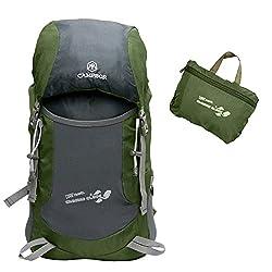 MAGIC UNION Original 35L Waterproof Ultralight Foldable Trekking Backpack Daypack Ladies Mens for Outdoor Hiking Camping Traveling Trekking Backpack Army Green