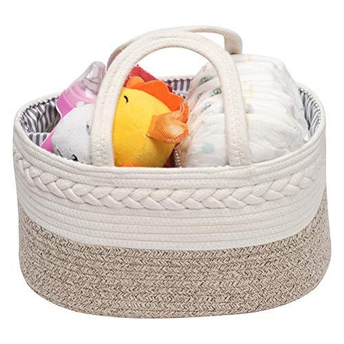 Organizador Pañales para Bebé,Cesta Bebe Recien Nacido,Cestas Bebe con 3 Compartimentos Extraíbles para Niño o niña ,Bmarrón