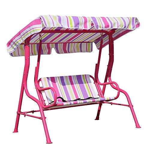 Angel Living Balançoire Chaise Pour Enfants 2 Places Jardin Extérieur Chaise Couleur Stripes Hamac avec l' Auvent (Rose)