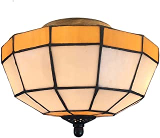 Led Ceiling Lamp Tiffany Color Glass Ceiling Lamp Corridor Porch Balcony Hotel Engineering Ceiling Lamp (Color : Yellow)