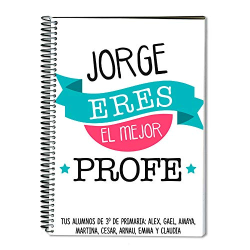 Regalo para profesores personalizable: cuaderno personalizado con su nombre (