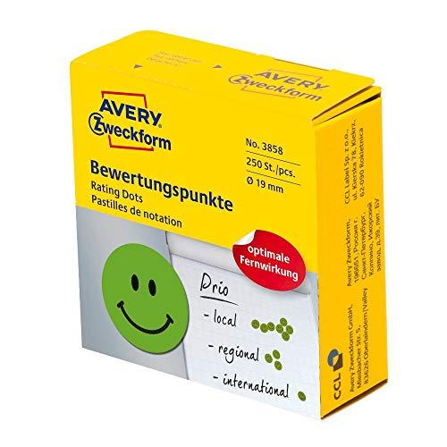 AVERY Zweckform selbstklebende Klebepunkte 250 Stück (positive Bewertungspunkte auf Rolle im Spender, Ø 19mm, Aufkleber lachendes Gesicht in Grün, zum Abstimmen, Bewerten und Kennzeichnen) Art. 3858