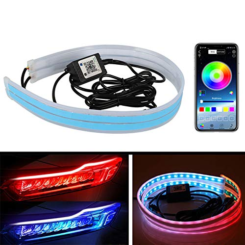 Flexible Car Led Light Strip DIBMS 24 Inches 60cm LED Multi Color Daytime Running Lights RGB Kit for Car Switchback Headlight Decorative Lamp Kits Turn Signal Tube Lights with APP Control