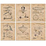 Vintage Blimp, Airplane, Aviation Patent Poster Prints, Set of 6 (8x10) Unframed Photos, Wall Art Decor Gifts Under 20 for Home, Office, College Student, Teacher, NASA Pilot, Military & Veterans Fan