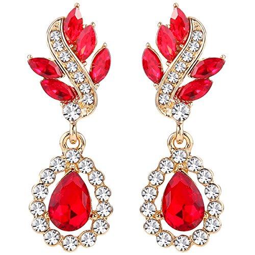 EleQueen Women's Austrian Crystal Art Deco Tear Drop Dangle Earrings Clip-on Gold-tone Ruby Color