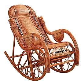 BKWJ Chaise à Bascule en rotin de Luxe, Chaise Longue Confortable et élégante avec Roue de Massage des Pieds, Fauteuil…