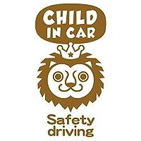 imoninn CHILD in car ステッカー 【シンプル版】 No.54 ライオンさん (ゴールドメタリック)