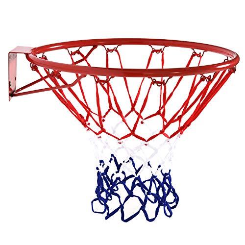 HOMCOM Basketballkorb mit Netz, Basketballnetz, Stahlrohr+Nylon, Rot + Blau + Weiß, ø46 cm