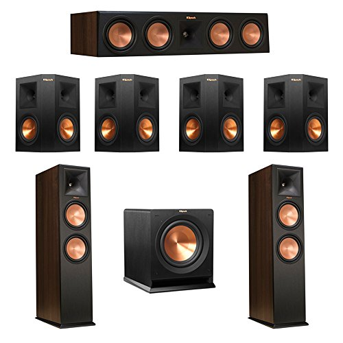 Review Klipsch 7.1 Walnut System with 2 RP-280F Tower Speakers, 1 RP-450C Center Speaker, 4 Klipsch ...