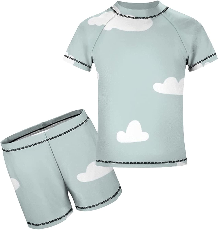 Yiaoflying Kids Boys 2 Piece Swimwear Set - Cloud Rashguard Swimsuit Trunks