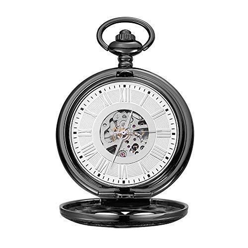 WFDA Reloj de Bolsillo con la Cadena Reloj de Bolsillo mecánico con Tallado Romano y maquinaria clásica Hueca Tallada Romana (Color : Black, Size : 4.7x1.5cm)