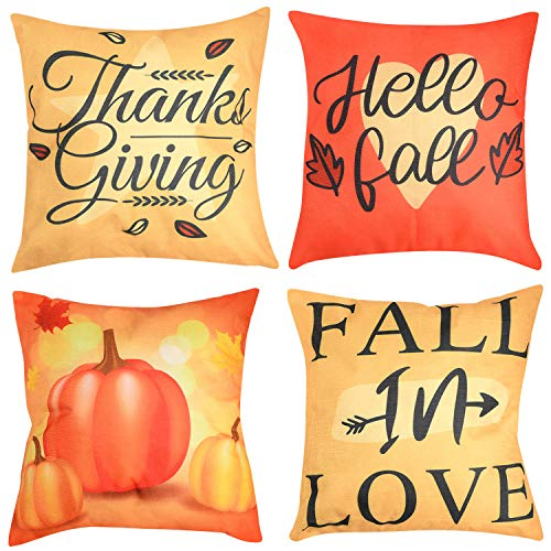Beeager Fall Pillow Covers 4 Packs, 18x18 Inches Pumpkin Harvest Autumn Throw Pillowcases, Thanksgiving Pumpkin Theme Farmhouse Decorative Throw Pillow Covers for Sofa Couch Home Decoration (Yellow)