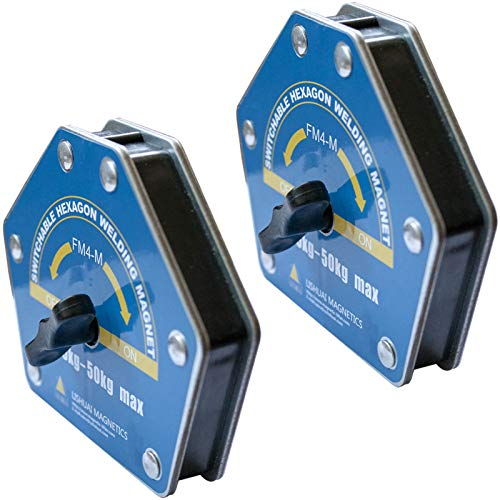 On/Off-Switchable Strong-Hand Welding Magnetic Clamps - Max 110lbs Heavy Duty Neodymium Welding Magnets Holder, Hexagon Multi-Angle 30°, 45°, 60°, 75°, 90°, 105°, 120°, 135°, 150° (2 PACK of Large)