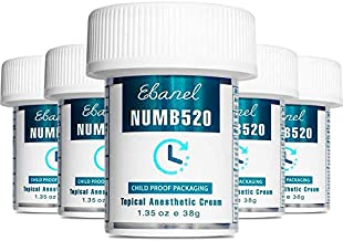Ebanel 5-Pack 5% Lidocaine Topical Numbing Cream Maximum Strength, 6.75 Oz Pain Relief Cream Anesthetic Cream Infused with Aloe Vera, Vitamin E, Lecithin, Allantoin, Secured with Child Resistant Cap