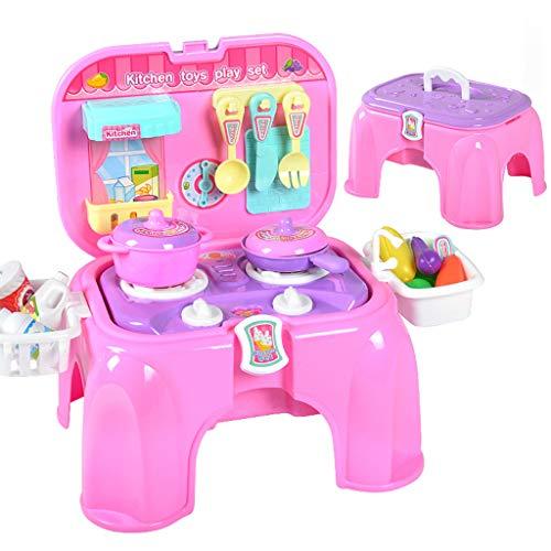 ASDG Giochi per Bambini Giocattoli per Bambini House Kitchen Toys Cooking Simulazione Cucina Cucina Banco può Ospitare Sedia del Gioco,Rosa