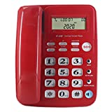 Big Button Phone for Elderly, Corded Phone with Caller ID, Desk Telephone for Business, Seniors Amplified Phone for Hearing Impaired Aid, Elderly Phone for Low Vision with Speakerphone(Red)