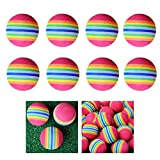 Lioobo 8pcs 38mm rainbow eva foam ball golf práctica práctica de entrenamiento de entrenamiento soft golf training ball (colorido)