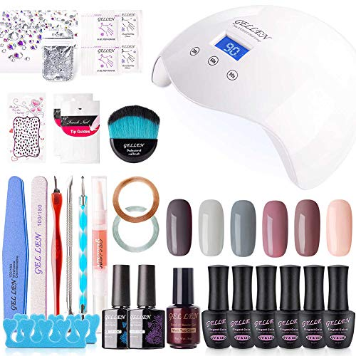 Gellen Gel Nail Polish Kit with UV Light LED Nail Lamp- Nude Grays 6 Colors Nail Gel Starter Kit, Top Base Coat Matte Top Manicure Tools Popular Nail Art Decorations Rhinestones Set