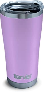 Tervis 1310927 Powder Coated Stainless Steel Insulated Tumbler with Clear and Black Hammer Lid, 20 oz, Lilac