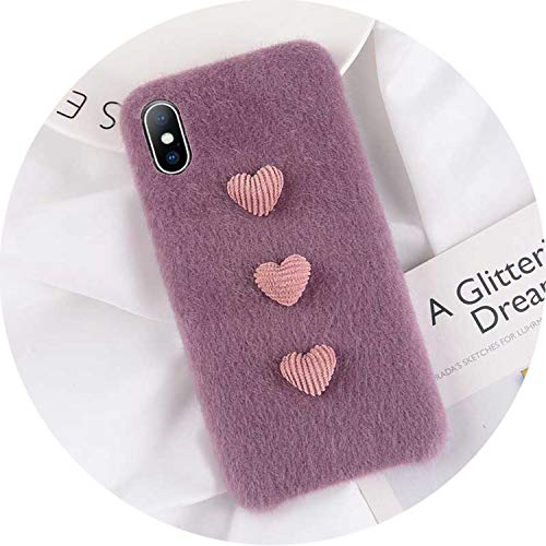 iPhone 8 7 6 6S Plus Hülle für iPhone X XR XS Max Winter Warm Pelz Cover, for iPhone 7, Heart Purple