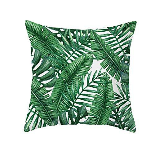 Niuqichongtian Funda de almohada de lino con diseño de hojas verdes tropicales y bosques de plátano, hoja de banano, cojín de cintura y funda de almohada para decoración del hogar 2ps TPR171-0