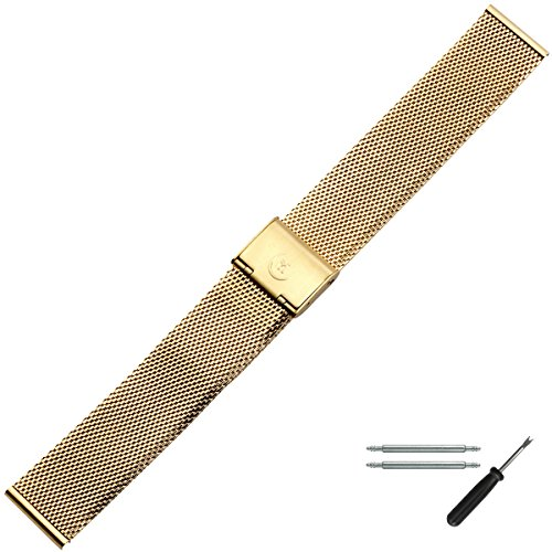 MARBURGER Uhrenarmband 18mm Edelstahl Gold - Werkzeug Montage Set 84701180020