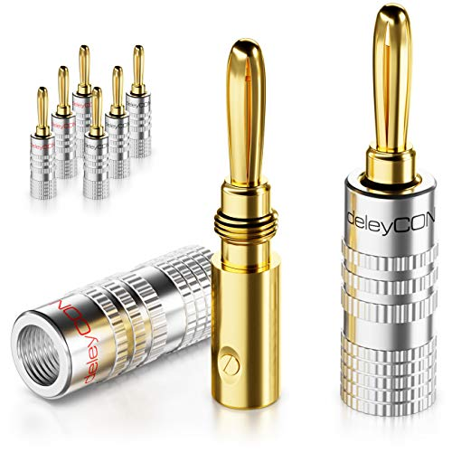 deleyCON 8X Banana Plug Chapado en Oro Atornillable para Cable de Altavoz Desde 0,75mm - 4mm & Receptor de Alta Fidelidad