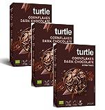 Turtle Cereales Copos de maíz orgánicos sin gluten cubiertos con chocolate amargo - 3 x 250 gramos