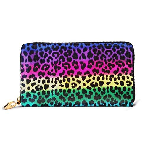 Lawenp Brieftasche gedruckt Brieftasche Leder Reißverschluss Brieftasche Regenbogen Leopardenmuster Vorhänge...