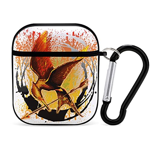 The Hunger Games Mockingjay Airpod Case Cover with Keychain, Sports Shockproof Protective Airpod Case Designed for AirPods 1 & 2 PC