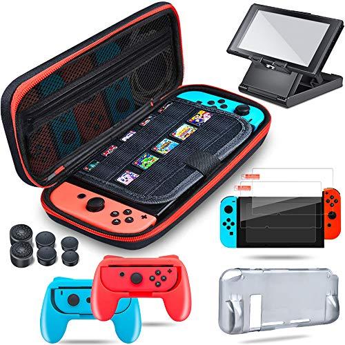 BEBONCOOL Tasche für Nintendo Switch, 13 in 1 Switch Tasche Case/Transparent Cover Hülle Schutzhülle/Griff/Displayschutz/Daumen Kappen/Ständer Switch Zubehör für Nintendo Switch